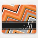 Chic Chevron Pattern Black Grey Orange Monogram Mouse Pad