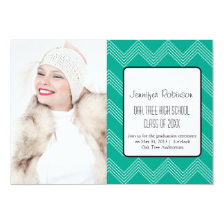 Chic Chevron Zigzag Emerald  Graduation 13 Cm X 18 Cm Invitation Card
