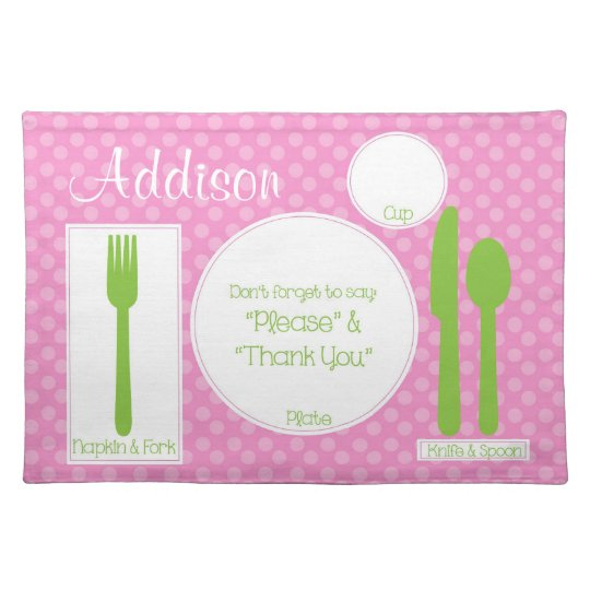 Chic Children's Proper Manners Polka Dot Place Mat