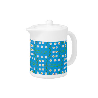 Chic China Teapot: Daisies on Teal