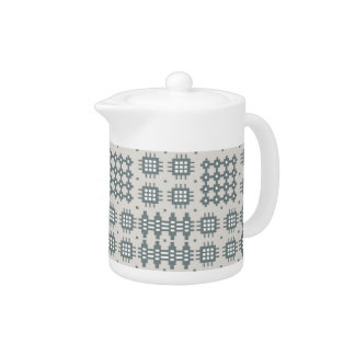 Chic China Teapot: Welsh Tapestry Pattern, Grey