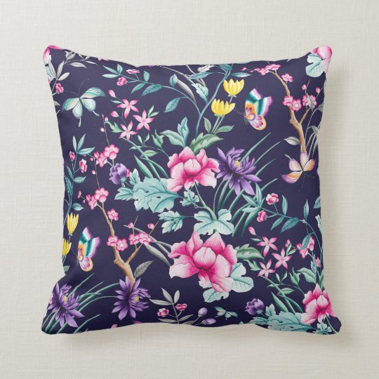 Chic Chinoiserie Slate Floral Pattern Throw Pillow