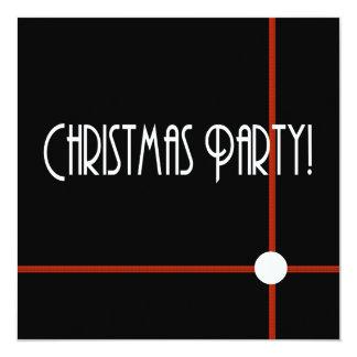 "Chic Christmas Party Invitation in Black and White 5.25"" Square Invitation Card"