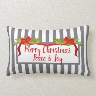 CHIC CHRISTMAS PILLOW_GREY/WHITE STRIPES LUMBAR CUSHION