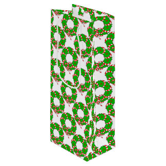 CHIC CHRISTMAS WREATH WINE BAG_RED/GREEN/WHITE WINE GIFT BAG