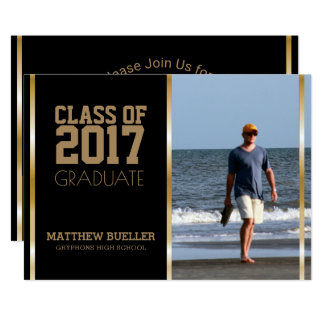 Chic Class of 2017 Gold Black | Photo Graduation Card