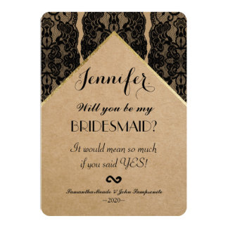 Chic & Classy Black Lace, Gold, & Recycled Paper 13 Cm X 18 Cm Invitation Card