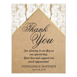 Chic & Classy White Lace, Gold, & Recycled Paper 11 Cm X 14 Cm Invitation Card
