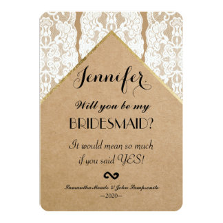 Chic & Classy White Lace, Gold, & Recycled Paper 13 Cm X 18 Cm Invitation Card