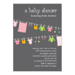 Chic Clothesline Baby Shower Invitation (Girl) 13 Cm X 18 Cm Invitation Card