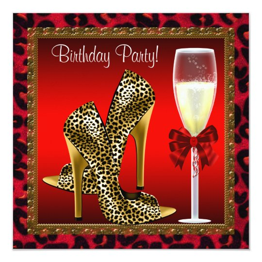 Chic Cocktail High Heel Shoes Red Leopard Birthday