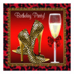 Chic Cocktail High Heel Shoes Red Leopard Birthday Invite