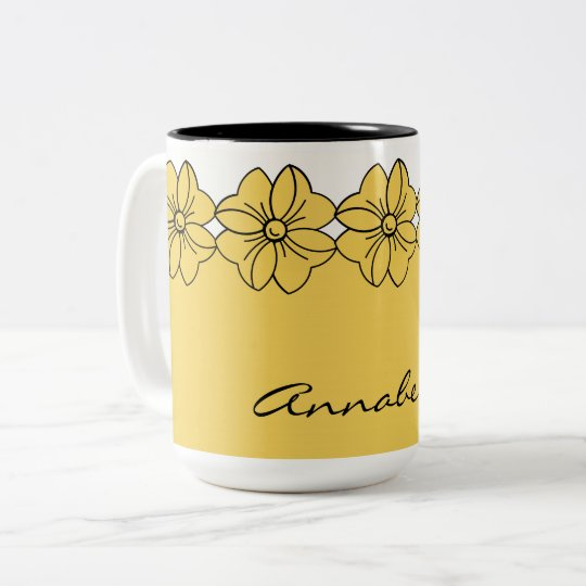 CHIC COFFEE MUG_GIRLY PANTONE 2017 PRIMROSE YELLOW Two-Tone