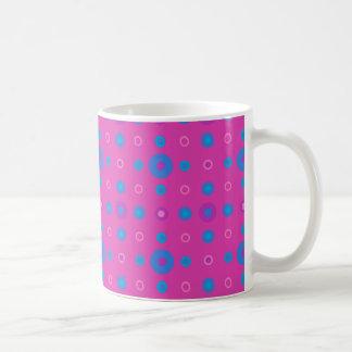 Chic Coffee Mug, Magenta: Bright Blue Dots Basic White Mug