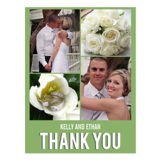 Chic Collage Wedding Thank You Postcard