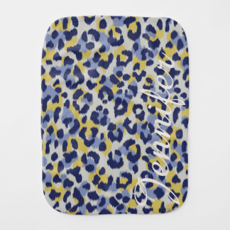 Chic colorful blue yellow cheetah print monogram burp cloth
