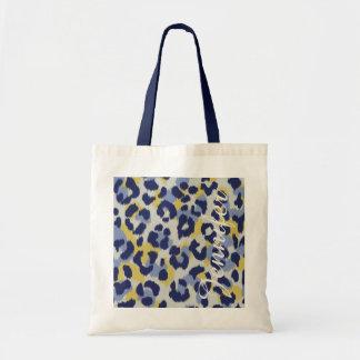 Chic colorful blue yellow cheetah print monogram tote bag