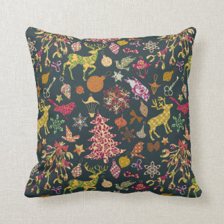 Chic Colorful Festive Patchwork Floral Damask Cushion