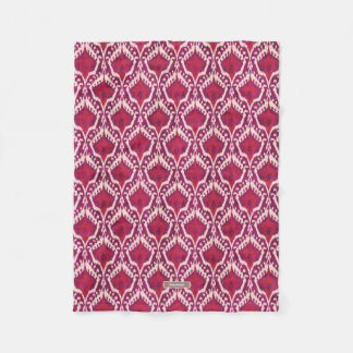 Chic colorful red and purple ikat tribal patterns fleece blanket