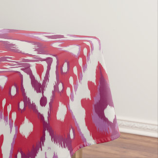Chic colorful red and purple ikat tribal patterns tablecloth
