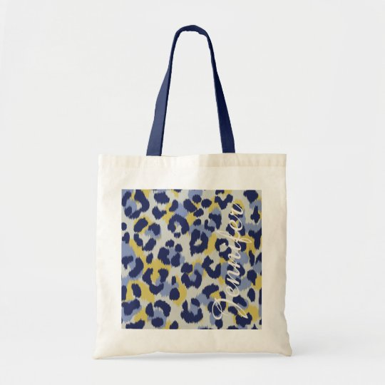 Chic colourful blue yellow cheetah print monogram tote bag