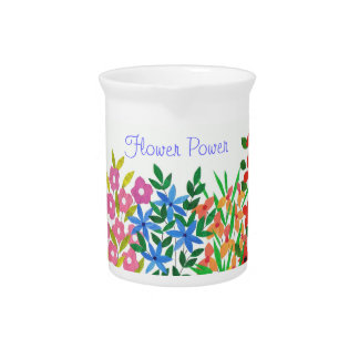Chic Colourful Floral Collage Pitcher
