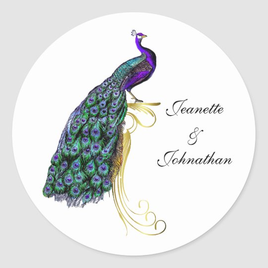 Chic Colourful Peacock Wedding Envelope Seal