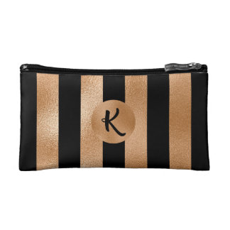 Chic Copper and Black with Monogram Cosmetic Bag