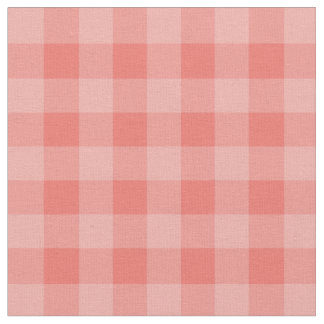 Chic Coral Gingham Plaid Pattern Fabric