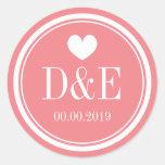 Chic coral pink monogram wedding stickers