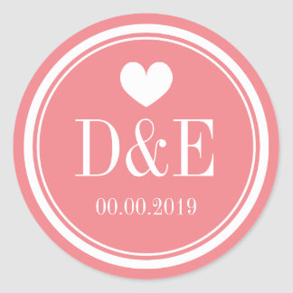 Chic coral pink monogram wedding stickers