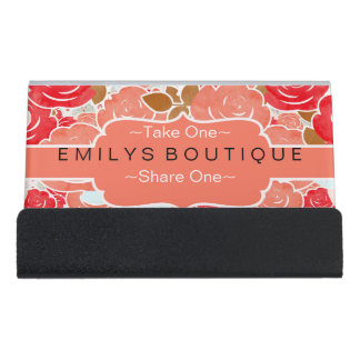 Chic Coral Red Gold & Peach Watercolor Rose Flower Desk Business Card Holder
