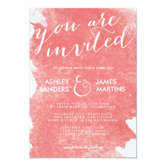 CHIC CORAL WATERCOLOR WEDDING INVITATION