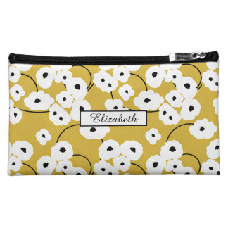 .CHIC COSMETIC BAG-MOD WHITE & BLACK POPPIES COSMETIC BAGS
