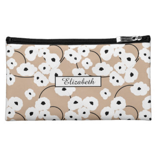 .CHIC COSMETIC BAG-MOD WHITE & BLACK POPPIES COSMETICS BAGS