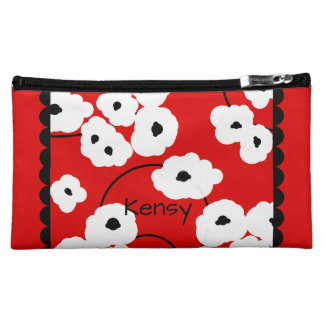 .CHIC COSMETIC BAG-MOD WHITE & BLACK POPPIES MAKEUP BAGS