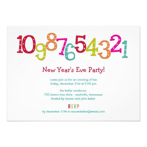 Chic Countdown New Year's Eve Party Invitation Personalized Invites