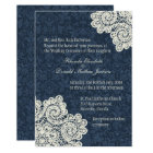 Chic Country Denim Damask & Ivory Lace Wedding 3 Invitation