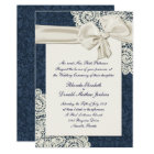 Chic Country Denim Damask & Ivory Lace Wedding Invitation
