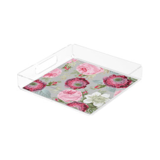 Chic Country Signature Grey Floral Acrylic Tray