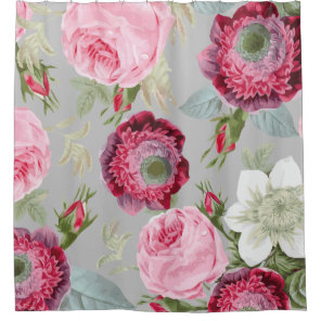 Chic Country Signature Grey Floral Shower Curtain