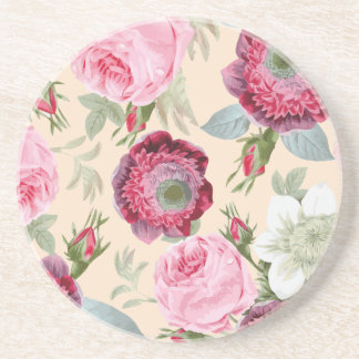 Chic Country Signature Pink Rose Floral Coaster