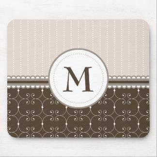 Chic Cream Beige Brown Custom Monogram Pattern Mouse Pad