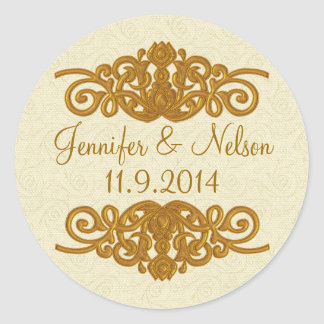 Chic Cream & Gold Tone Wedding Envelope Seal