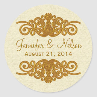 Chic Cream & Gold Tone Wedding Envelope Seal Round Sticker