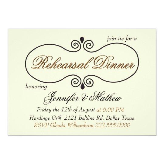 Chic Cream Wedding Rehearsal Dinner Card