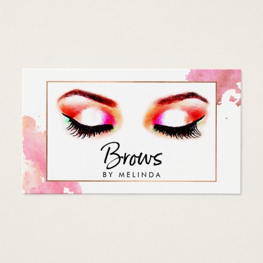 Chic Creative Watercolor Eyebrows Beauty Business Card