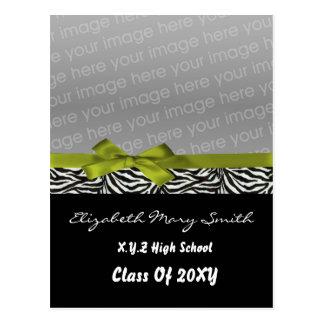 chic cute bow green photo Graduation Invitation Postcard