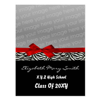 chic cute bow red photo Graduation Invitation Postcard