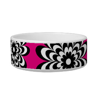 Chic Daisy Cat Bowl - Hot Pink
